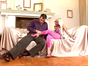 Gorgeous blonde Jennifer Love seduced by a horny lover