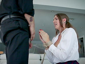 Sadie Holmes tied up by a kinky fellow during a nasty fuck