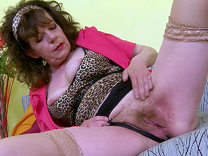 Extremely hairy mature grandma fingering and adult toys masturbation