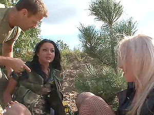 Two hot honies permit the insatiable stud Rocco drill their ass-holes
