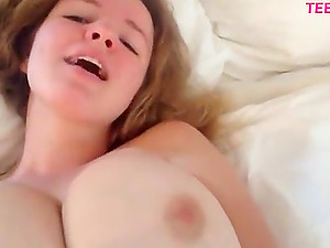 Busty blonde with huge tits masturbate. She has massive boobs and they are not fake !
