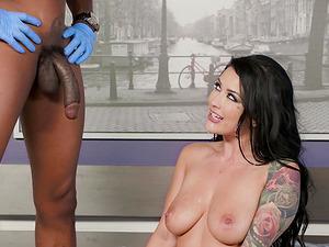 Katrina Jade is a stunning brunette in need of a black boner
