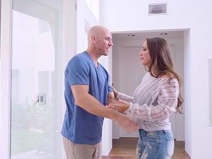 Abigail Mac is curious about a bald man's hard prick