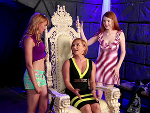 Katja Kassin seduces by a couple of ladies for a threesome