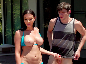 Rachel Starr wants to ride a stallion's cock during a summer day
