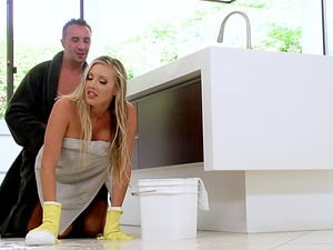 Samantha Saint is a hot cleaning lady in need of a hunk's cock