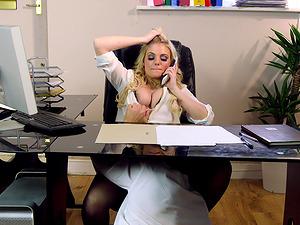 Secretary Katy Jayne caught masturbating and fucked hard on her desk