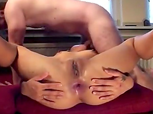 See her two fleshy holes get drilled