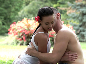 Lexi Layo seduced by a hunk for an outdoor sex session