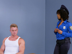 Misty Stone enjoys being penetrated by a white massive cock