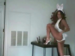 Beautiful girl turns into a bunny by wearing bunny clothes