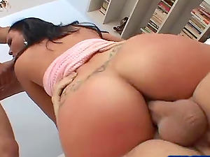 Hot ass Lindsay riding cock hardcore in mmf porn