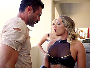 Cali Carter and Aaliyah Hadid want to make a handsome man's dick stiff