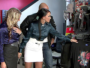 Carmen Blue and Lexxis Brown enjoy an erected love tool