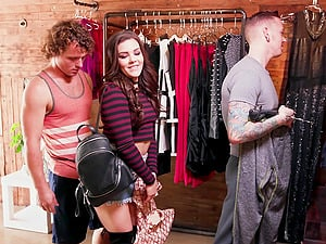 Kimber Woods gangbanged by a bunch of handsome lovers