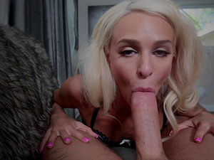 Gorgeous blonde Emma Hix shows off her cock sucking abilities