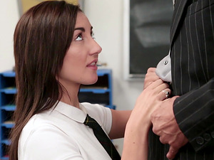 Jade Amber is a naughty girl who wants to ride a teacher's cock
