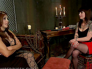Kinky Black-haired Gets in the Basement for a Shocking Practice