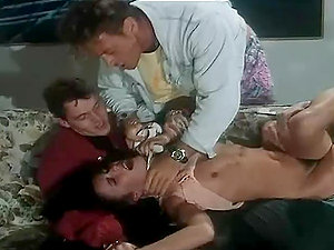 Sizzling dark haired stunner gets triple penetrated