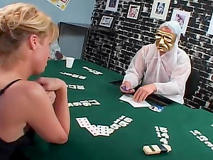 Blonde shemale loses the poker game and gets banged