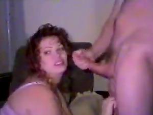 Chubby redhead wife sucks a thick cock