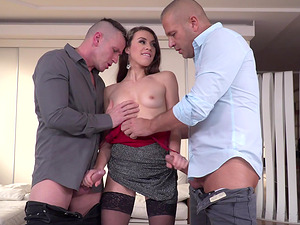 Lusty Tiffany Doll having her fuck holed drained by two fellas