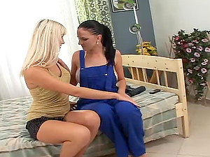 Two gorgeous dolls caress each other and practise face sitting