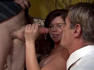 Pretty black-haired Kimber Lace has fuck-a-thon with two bisexual dudes