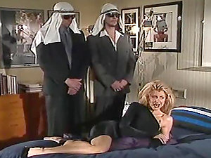 Two Arabs make a blonde suck and rail their shafts