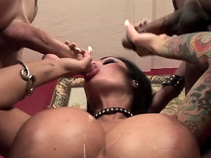 Angelina Valentine having her pierced clam fucked by two dicks