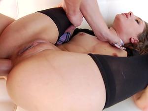Naughty schoolgirl Rebel Lynn having her gaping asshole wrecked