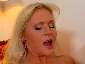Desirable ash-blonde bombshell drops her tits and gives herself to him