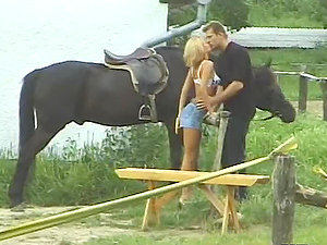 Greta Milos the lovely blonde gets fucked hard in the country