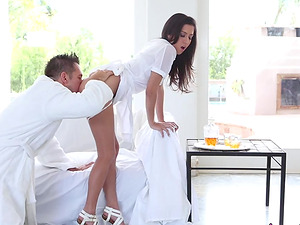 Busty brunette April O'Neil feels amazing on top of her lover