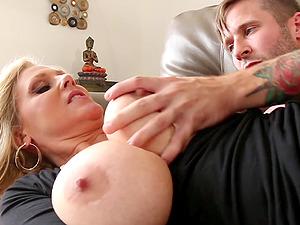 Huge-titted milf Julia Ann receiving a giant schlong in her clam