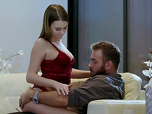Irresistible Jill Kassidy humps a horny fella and gets pounded