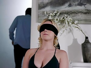 Blindfolded Summer Day receiving a tasty black cock in her throat
