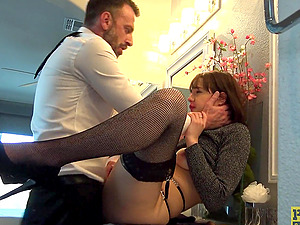 Brunette girl Sailor Luna gets to slurp on a long dick until he cums