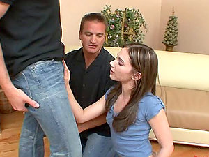 Big-boobed honey Dakoda Brookes gets in a hot oral hookup with two bisexual dudes