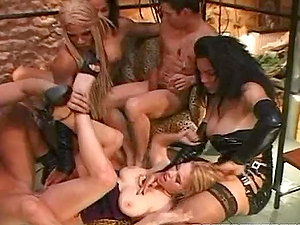 Two lusty stunners are getting balled by a few dicks