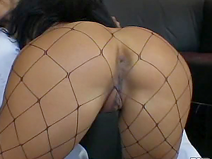 Dirty Whore In Fishnet Gets Her Twat Fucked.