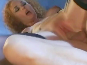 Asian girl in stockings with hairy pussy gets double penetrated
