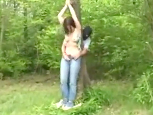 Outdoors Humiliation of College slut Fanny
