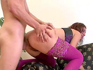 Pretty Cleo stuffed hard on her gaping hole
