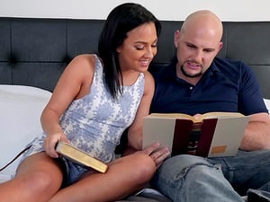 Bald guy gets to fuck Amara Romani and her hot friend together