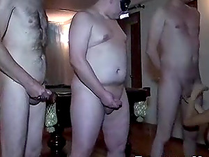 Hot Blonde Blowbang with Old Guyses