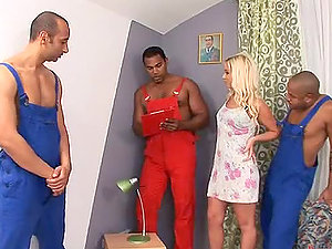 Interracial Gang-bang With The Blonde Cutie Cindy Buck