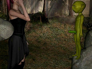 Yoda uses mind tricks to fuck a lone girl in a forest 3D parody porn of Star Wars