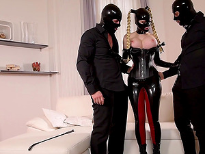 Lucy Latex talks two naughty guys into banging her together