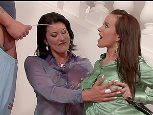 Cindy Dollar and Celine Noiret like to share a delicious cock